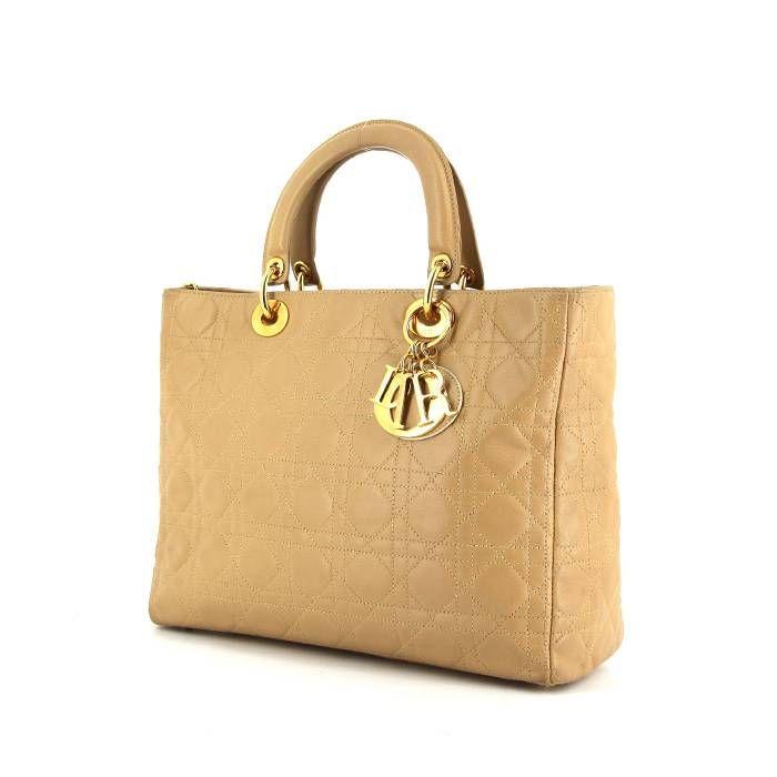 Borsa Dior modello grande in pelle trapuntata beige