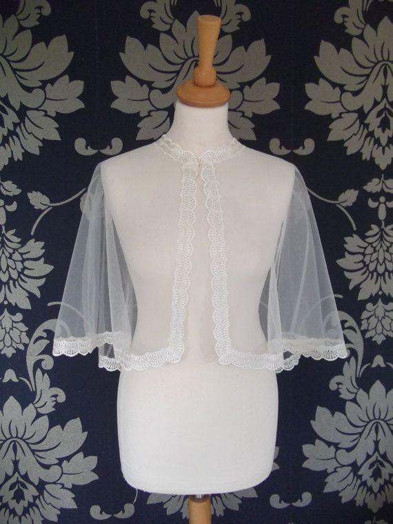 Vintage Style Ivory Tulle with Lace Edging by VintageBridalbyCarol, £35.00