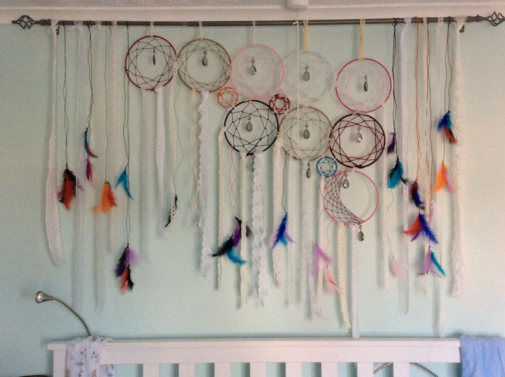 Dream catchers, lace, feathers, jewels, art, bedroom, homemade.
