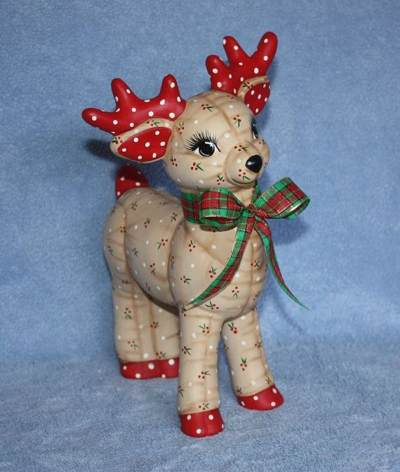 Hand painted Ceramic Christmas Reindeer by FlutterbyConnections