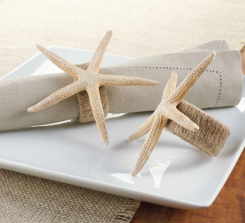 Starfish Napkin Ring. Replica starfish keeps napkins tidy while adding a beach style to your tabletop. Cast from a natural finger starfish, you receive all of the texture a beauty a natural starfish provides, but in a sea-friendly form. Jute wrapped ring completes this natural hued accent.