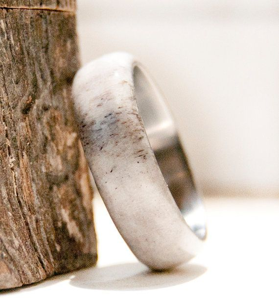 ANTLER WEDDING BAND (available in: titanium, silver, or gold) by Staghead Designs