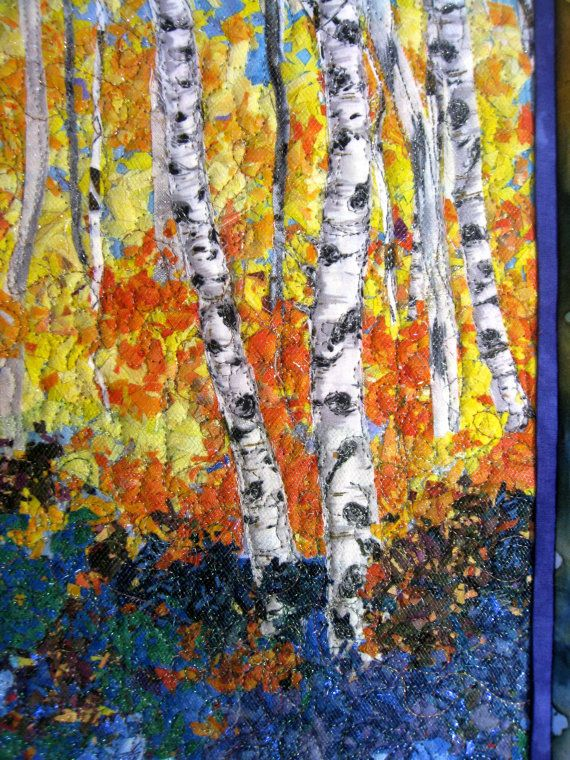 Quilted Wall Hanging  Art Quilt  Birch Trees & by SallyManke Just finished!