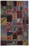 9'8''x6'5'' Multi Color, Retrospective Patchwork Rug, Kilim Patchwork Rug Vintage Kilim Patchwork