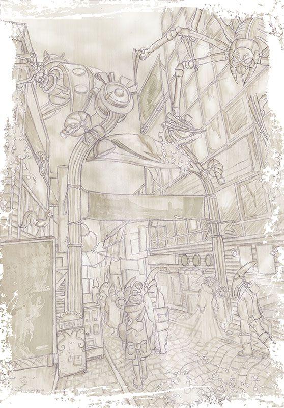 Le #città del #futuro. Photoshop and pencil. #Illustration of a #Future