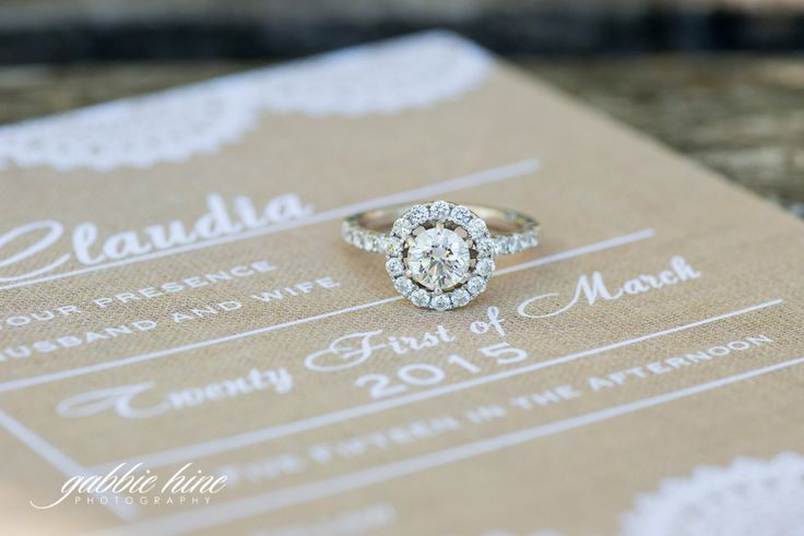 use your wedding invitation as a backdrop for an engagement ring close-up!