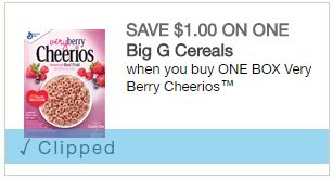 $5.50 in Savings on Big G Cereals ($1/1 Very Berry Cheerios and More) ($1.49 a box at CVS through 06/03)