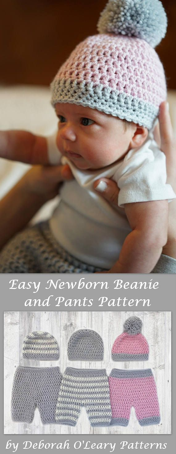 Crochet Baby Beanie - Pants -  Shorts - Overalls Pattern by Deborah O'Leary Patterns #crochet #baby #newborn #pants #easy #deboraholearypatterns