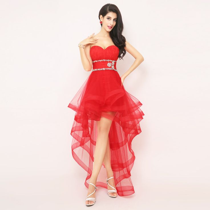 Red Tulle high Low Homecoming Dresses for girls Luxury Crystal open Back Dress Party Gowns Vestido de fiesta corto Rojo AJ014