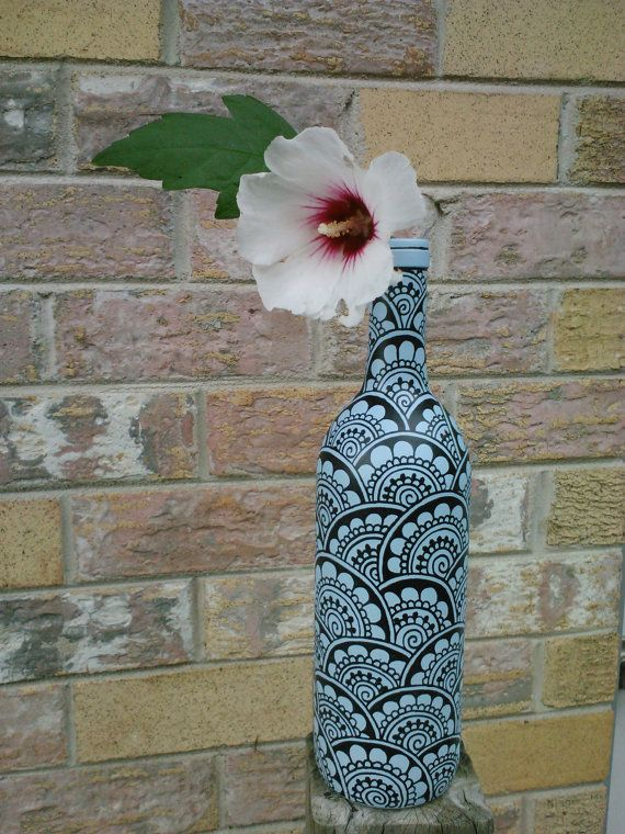 Henna Style Painted Wine Bottle