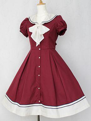 Navy Sailor Short-sleeved Cardigan Lolita Dress