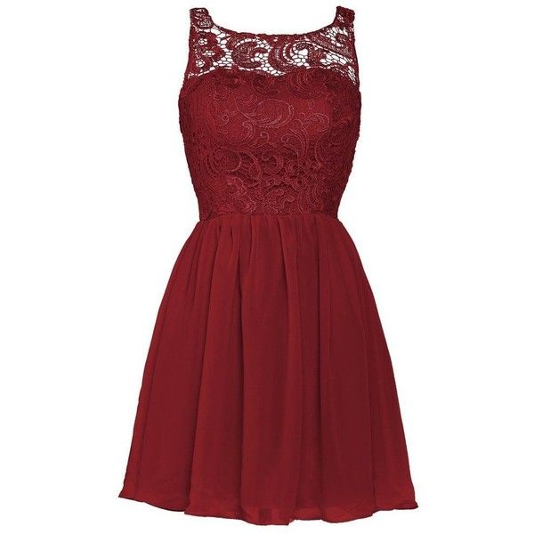 Ellames Women's Lace Bridesmaid Short Prom Dress Homecoming Party... ($50) ❤ liked on Polyvore featuring dresses, red, short cocktail dresses, red cocktail dress, homecoming dresses, lace bridesmaid dresses and bridesmaid dresses