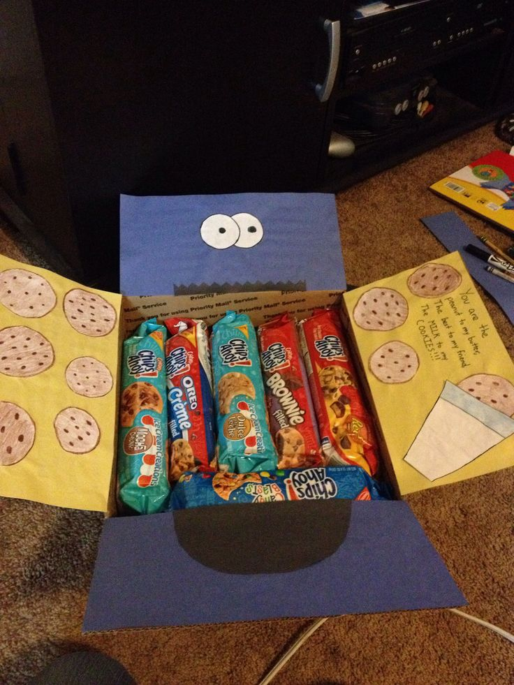 """""""You are the Peanut to my Butter, the Best to my Friend, the MILK to my COOKIES!!! Cookie Monster theme care package"""