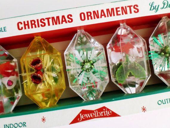 Vintage Christmas Ornaments Jewelbrite Gems Original Box Of 5