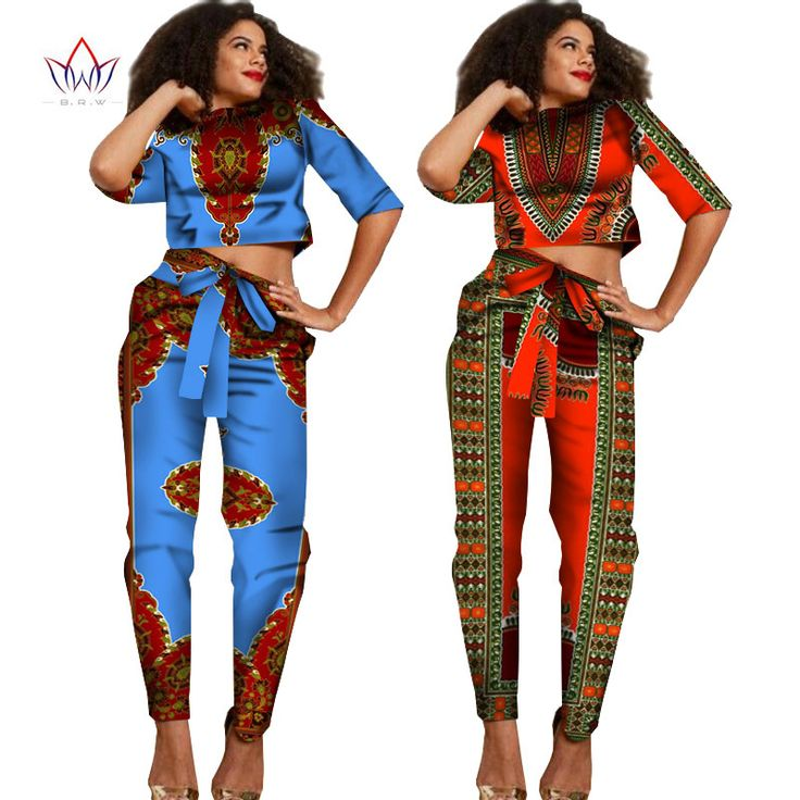 2017 New African Clothes Half Sleeve Crop Tops 2 Piece Set ...