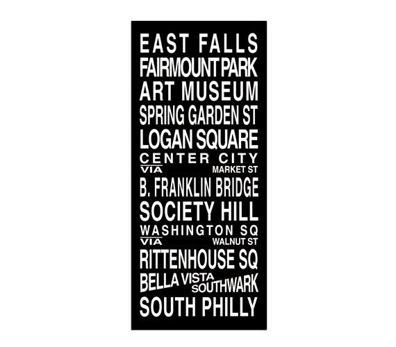 Philadelphia Destination Roll / Subway Scroll / Tram Banner / Bus Schedule 22in x  50in - Ready to Hang. $149.00, via Etsy.