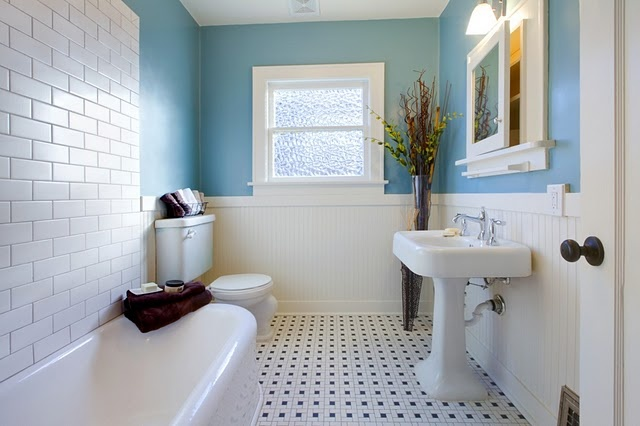 Bathroom   Blue Walls White Tile