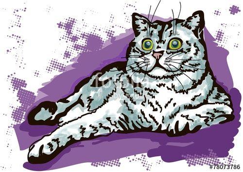 Вектор: лежащий кот
