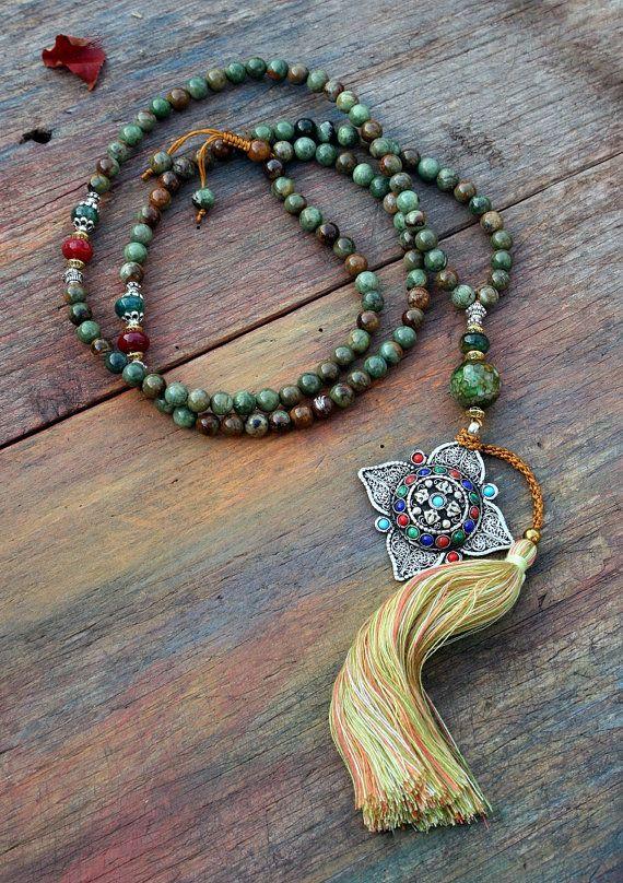 Beautiful opal gemstone mala necklace - look4treasures on Etsy