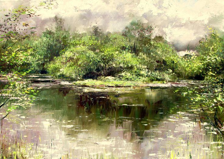 Купить Солнечные блики - природа, пруд, пейзаж с водой, пейзаж маслом, купить подарок