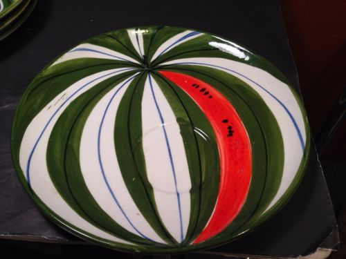 Mid-Century-Vintage-Nove-Raymor-ITALY-Watermelon-Lunch-Plates-Soup-Bowl-Set-5