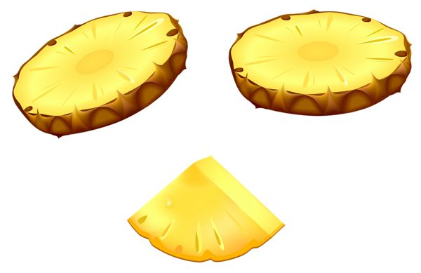 Pineapple Slices PNG Vector Clipart Image