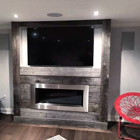 Fireplace makeover using classic grey reclaimed barn board