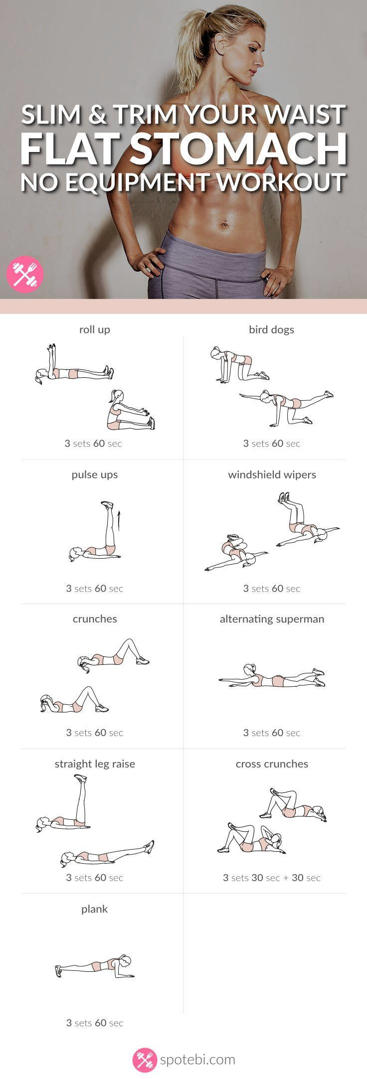 Want to easily whip your tummy into shape? Try this at home flat stomach workout for women, to sculpt your abs in no time, and get a slim, toned and trim belly. www.spotebi.com/…
