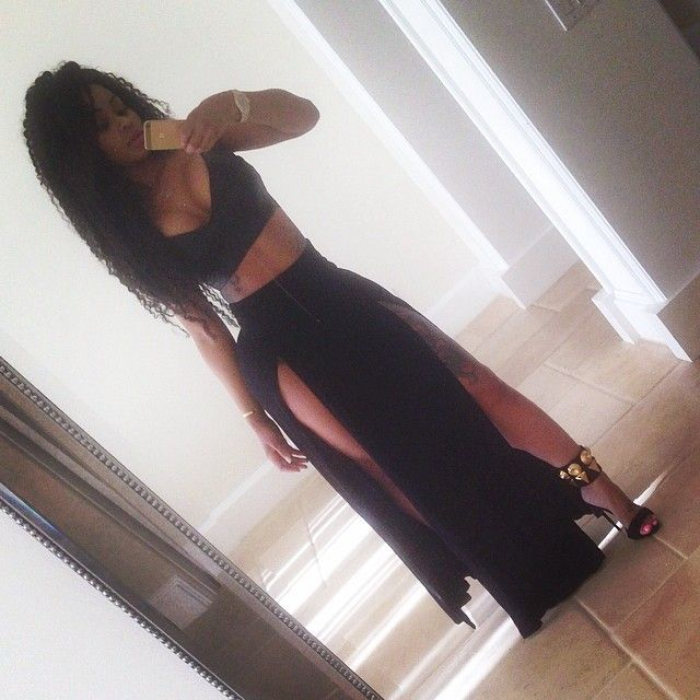 Blac Chyna in High Slit Maxi Skirt