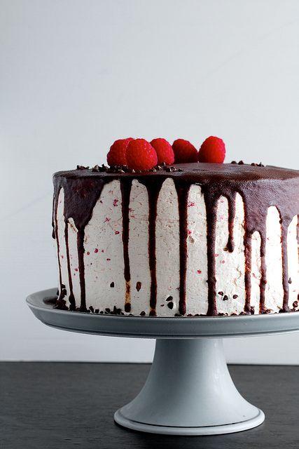Dark Chocolate Raspberry Buttercream Cake by pickyin, via Flickr