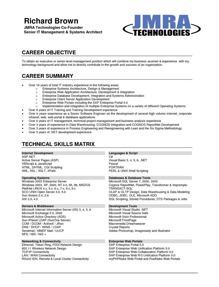 Career Objective Resume Example - Template