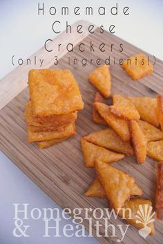 You probably won't believe how easy homemade cheese crackers are: cheese, butter, flour, bake.