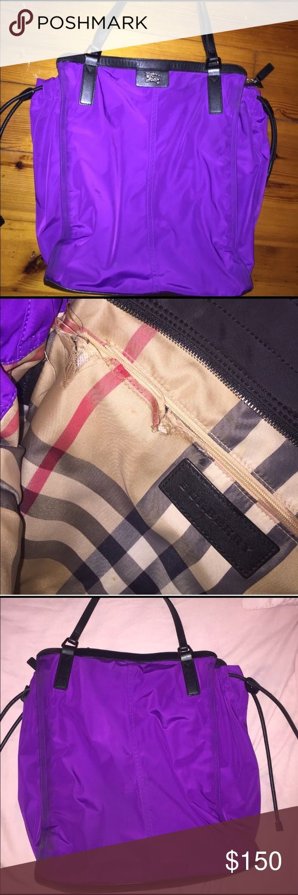 Burberry Brit purple tote bag-Authentic Burberry Beautiful purple Burberry tote bag. The only thing wrong is the zipper got hung up in the lining once and cause a small tear in the lining. Not visible from the outside. Outside is in perfect condition. Super spacious! 10/10 on the condition on the exterior. Burberry Bags Totes