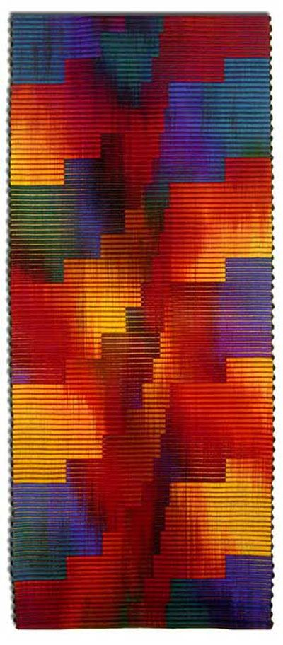 """John Gunther : """"Working primarily in wool, I have explored the textural qualities of the Scandinavian warp faced technique of the Ripsmatta weave combined with the hand dyed relationships of color."""""""