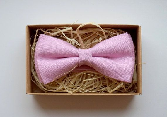 Dusty Pink bow tie /Blush Linen bow tie /Cheap by ArtOfLithuania