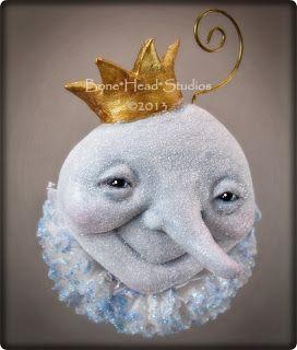 Moon King holiday ornament -moon art doll