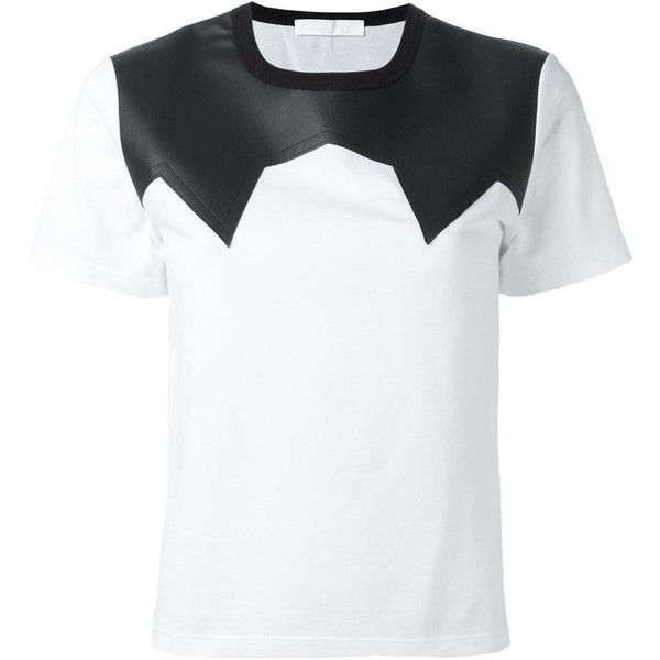 Neil Barrett leather effect panel T-shirt ($335) ❤ liked on Polyvore featuring tops, t-shirts, white, white tee, leather tops, neil barrett, short sleeve t shirt and short sleeve tee