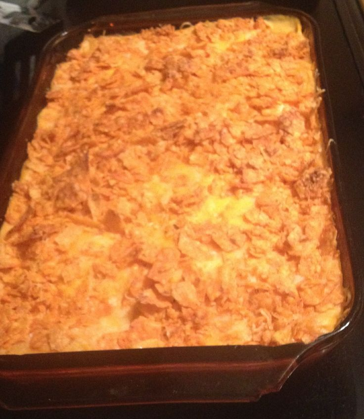 Taco Casserole  Hamburger, taco seasoning, Refried beans, cream of chicken soup, tostitos cheese dip, provolone slices, shredded cheddar, & Doritos. Preheat oven at 350. Bake 25min. Cook burger, & add taco seasoning. Coat dish w/cooking spray. Crumble Doritos & spread as a crust. Add a layer of burger. Layer burger w/provolone. Add a layer of  beans, a layer of the tostitos cheese & cream of chicken soup. Top with shredded cheese & more Doritos on top. Bake & eat w/a side of plain Greek…