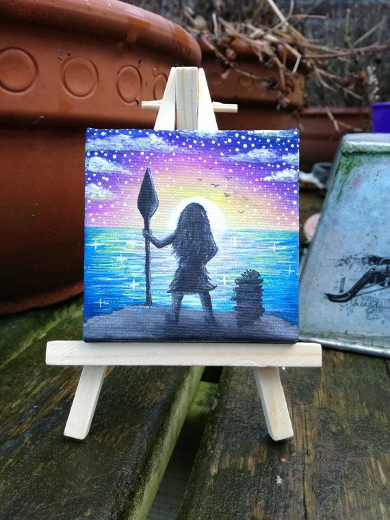 Hey, I found this really awesome Etsy listing at https://www.etsy.com/listing/489464700/handpainted-moana-mini-painting-how-far