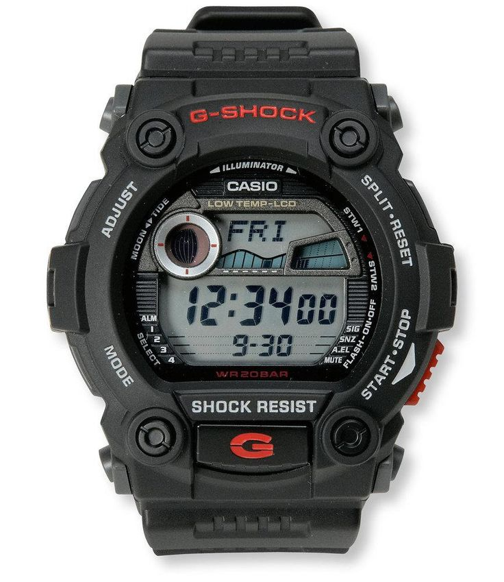 A supertough watch designed for rugged outdoor use. Features Casio's industry-leading G-Shock technology that protects it from the drops and rough use that happens on the water and in th