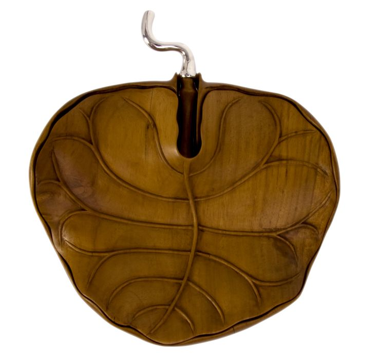 One piece wooden bowl carved from tropical hard wood into a leaf shape featured with a hand carved wooden lid with intricate details which looks like the real leaf from nature elegantly decorated with sterling silver. LAdV has created this piece to show creativity and precision of craftsmanship. This piece adds a distinctive touch of nature to any place of art around your house.