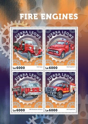SRL16401a Fire engines (1924 Stutz; 1952 Ford F6 F1; 1983 American LaFrance; 2013 Ford F554)