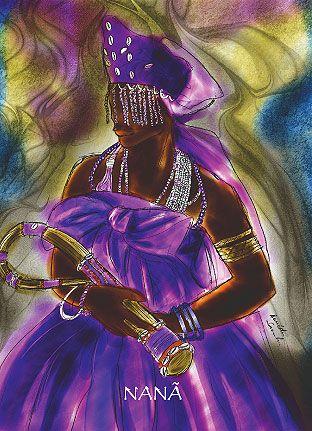"""orixá nanã Orixá mais velho do panteão africano, que nenhuma pesquisa conseguiu identificar suas origens. Dona da alma do fundo dos rios, lama esta que serviu para modelar os homens, é misteriosa e também possui forte relação com a morte; pois é o nascimento, a vida e a morte. Nanã é uma expressão que significa """"Mãe"""" em diversos dialetos na África, portanto, Nanã é a mãe do destino."""