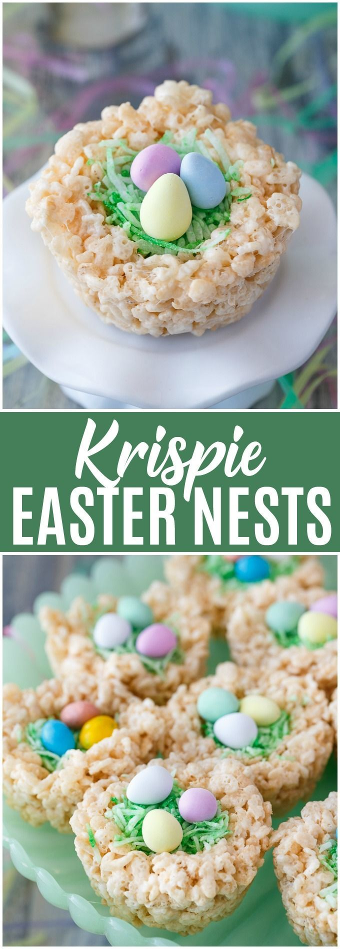 Krispie Easter Nests - This easy Easter dessert is fun to make and eat! Kids love to help decorate with colourful green grass and Easter chocolate and candy. #ad