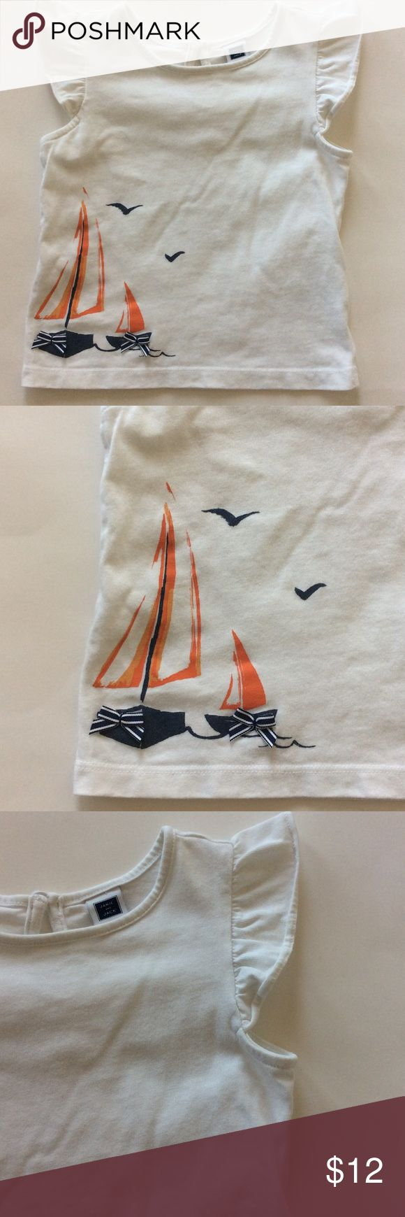 👫Janie and Jack tee Janie and Jack short sleeve tee. Super cute nautical detailing. Flutter sleeves. Keyhole button closure in back. 100% cotton. Size 2T. Excellent condition. Janie and Jack Shirts & Tops Tees - Short Sleeve