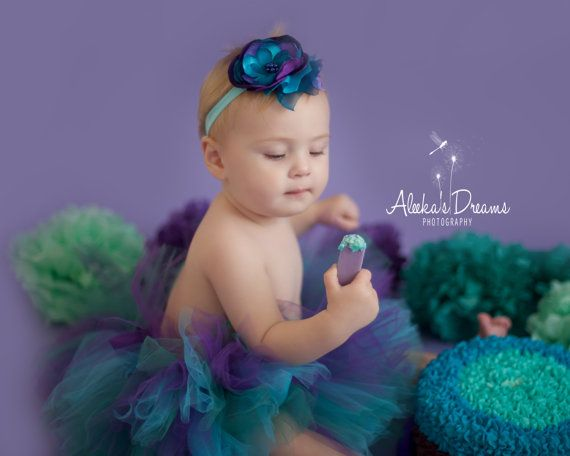 Cake smash tutu and headband set in peacock by CherryBlossomTale