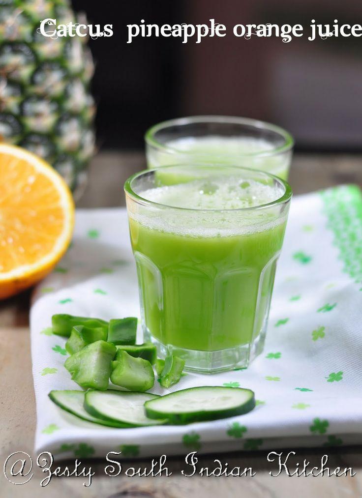 Cactus pineapple orange Juice/ Agua de Nopal, Piña con