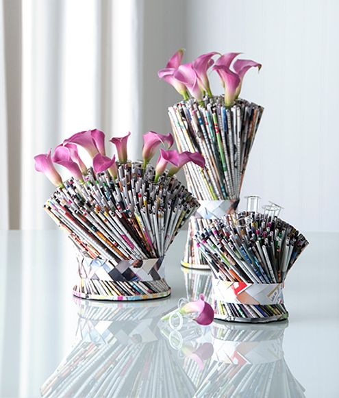Recycled magazine pages made into a bouquet vase
