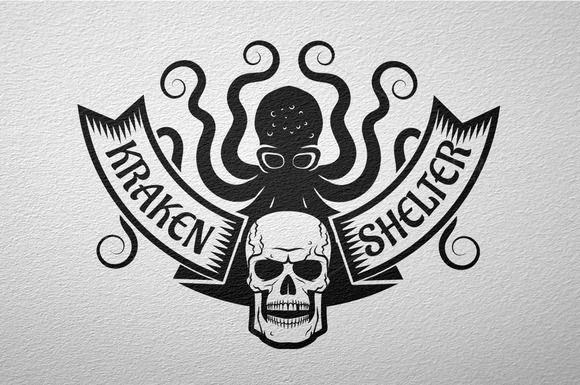 Kraken and skull logo by DreamBikeShop on @creativemarket