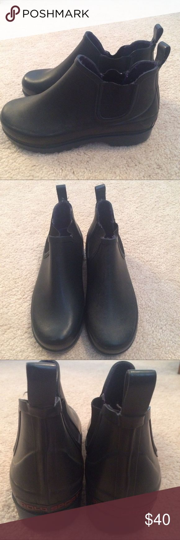 Polo Sport Rain Wellies Size mens 8. Minor wear. Great condition. Dark Navy Blue almost black color. Polo by Ralph Lauren Shoes Rain & Snow Boots